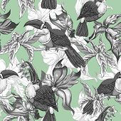 picture of toucan  - Beautiful Vintage Tropical Seamless Background with Exotic Flowers and Toucan - JPG