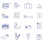 pic of motel  - hotel and motel accomodation simple outline icons - JPG