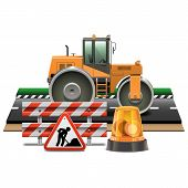 Постер, плакат: Vector Road Construction With Road Roller