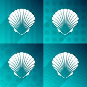 stock photo of scallops  - White scallop seashell on turquoise backgrounds long shadow - JPG