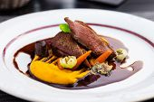 image of roast duck  - Roasted duck fillet with carrot - JPG