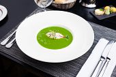 image of scallops  - Broccoli cream soup with white fish and scallops - JPG