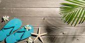 stock photo of starfish  - Beach slippers - JPG