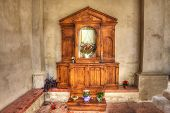 picture of altar  - wooden altar in an italian church - JPG