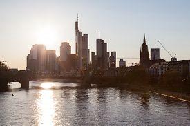 image of frankfurt am main  - Frankfurt downtown skyline and the river Main - JPG