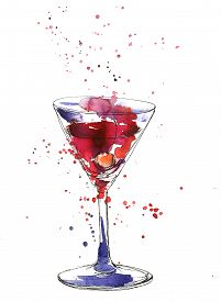 picture of cocktail menu  - artistic illustration of alcohol drink - JPG