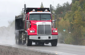 image of dump_truck  - taken on highway 17 west in driving rain - JPG