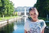 Girl In Lower Park Of The Peterhof