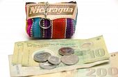 foto of memento  - souvenir memento key chain change purse hand made woven colorful fabric made in Nicaragua with cordoba coins and paper bill currency - JPG