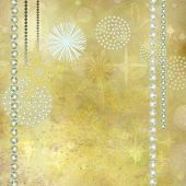 stock photo of glitz  - Golden Christmas Background with Beautiful Gemstone Decorations - JPG