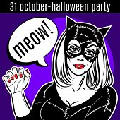 Halloween Party Design Template. Woman In Catsuit, Cat Lady, Superhero. poster