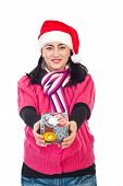 Santa Helper Woman Holding Gift