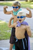 Boy Superheroes With Mask And Cape