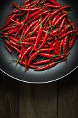 Постер, плакат: Red Hot Chili Peppers In Old Pan On Rusty Steel Background