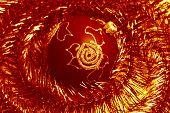 image of tawdry  - red christmas ball and shiny spangle soft - JPG