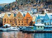 Постер, плакат: BERGEN NORWAY DECEMBER 29: The historical part of the city Bergen Norway on December 29 2014 S