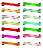 A set of colorful ribbon banners