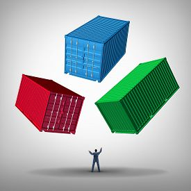 pic of juggling  - Freight cargo management concept as a businessman or shipping manager juggling heavy metal train containers as a business logistics managing icon - JPG
