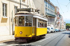 picture of tram  - Vintage tram in the city center of Lisbon Lisbon Portugal in a summer day - JPG