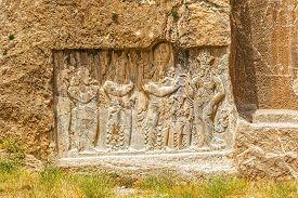 picture of zoroastrianism  - Ancient relief of the necropolis Naqsh - JPG