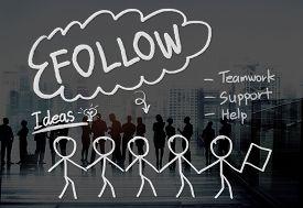 image of follow-up  - Follow Following Teamwork Member Leader Concept - JPG
