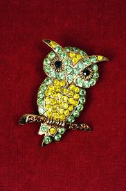 stock photo of brooch  - Green and yellow owl brooch against a red background - JPG