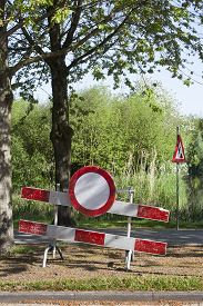 picture of no entry  - Construction barrier with a no entry sign - JPG