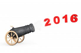 stock photo of cannon  - New 2016 Year Sign from Cannon on a white background - JPG