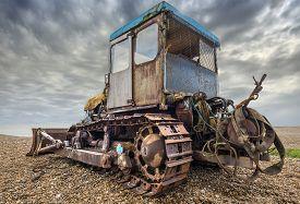 pic of bulldozers  - Old rusty bulldozer used for launching fishing boats - JPG