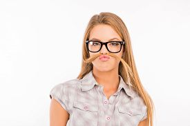 pic of fool  - funny girl fooling around and pouting with glasses - JPG