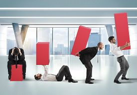 image of fatigue  - Business person raises a statistic with fatigue - JPG