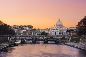 image of doma  - A view of the basilica St Peter in Roma at sunset time