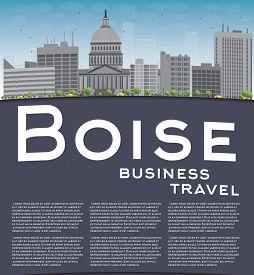 stock photo of boise  - Boise Skyline with Grey Building - JPG