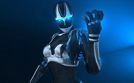 picture of cyborg  - advanced female cyborg character holding energy charge - JPG