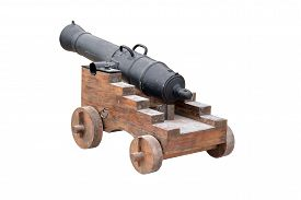 foto of cannon  - Old cannon front view isolated on white - JPG