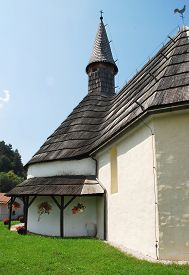image of shingles  - The Rotunda of Saint John the Baptist in Muta north east Slovenia - JPG