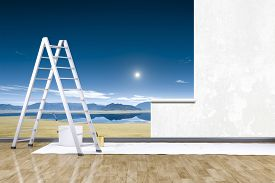 stock photo of mural  - 3d render of redecorate a room with a photo mural - JPG