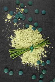 stock photo of chlorella  - Chlorella spirulina and wheatgrass - JPG