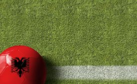 stock photo of albania  - Albania Ball in a Soccer field - JPG