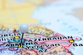 picture of armenia  - Photo of pinned Armenia on a map of Asia - JPG