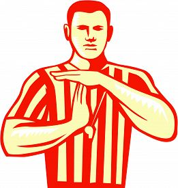 stock photo of referee  - Illustration of a basketball referee doing a technical foul hand signal viewed from front set on isolated white background done in retro style - JPG