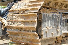 stock photo of bulldozers  - Crawler bulldozer machine during at construction site - JPG
