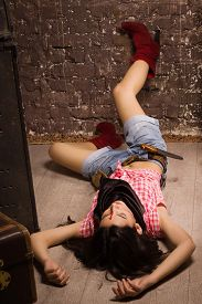 picture of gunfights  - Crime scene in a western style - JPG