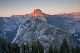 picture of granite dome  - Famous Half Dome and surrounding views at Yosemite National Park in California - JPG