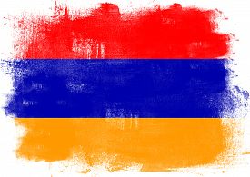 foto of armenia  - Flag of Armenia painted with brush on solid background - JPG