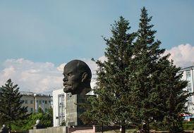 stock photo of lenin  - Monument to Vladimir Lenin in Ulan - JPG