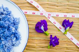 stock photo of pea  - Blue sticky Rice made from Butterfly Pea flower - JPG
