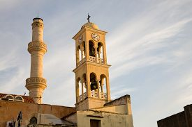 picture of saint-nicolas  - The Saint Nicholas church with minaret at sunset in the old town of Chania Crete Greece - JPG