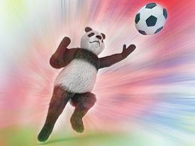 pic of panda bear  - wild panda goalie in the rapid jump trying to catch a soccer ball on a colorful watercolor background blurred - JPG