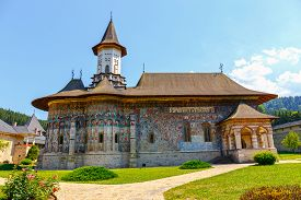 image of suceava  - The Sucevita Monastery is a Romanian Orthodox monastery situated in the commune of Sucevita Suceava County Moldavia Romania - JPG